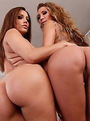 2 Gorgeous sexy latinas have rough sex with two big cocked studs.